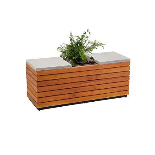 Greemotion 2 in 1 Sitzbank mit Pflanzkübel aus Holz, 2 Sitzer Gartenbank Akazie/Pflanzgefäß, Einsatz, Holzbank, integriertem Blumenkübel, Natur, 110 x 38 x 45 cm