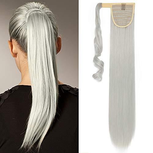 Pferdeschwanz Haarteil Zopf Clip in Ponytail Haarverlängerung Extension Hair Piece Wrap on wie Echthaar Silber-Grau Glatt-26