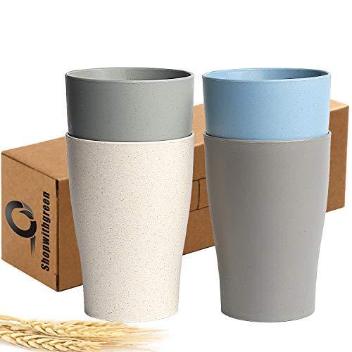 shopwithgreen 400 ml Tasse Unzerbrechlich Wiederverwendbare Trinkbecher,Weizenstroh Rohstoffe Becher für Erwachsene und Kinder - Set 4 Farben Multifunktionale & Spülmaschinenfest