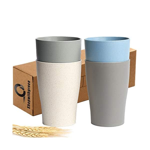 Shopwithgreen Wheat Straw Unbreakable Cup for Kids Adult (13.5 OZ), Set 4-Multicolor Reusable Cup, Dishwasher Safe…