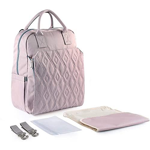 Bolsa de pañales multifuncional para el hombro, mochila impermeable de gran capacidad para la madre y el bebé, bolsa para mamá con aislamiento de biberón, con cambiador