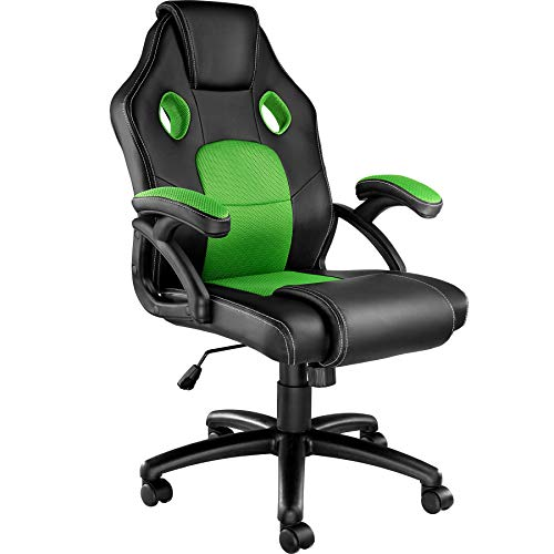 TecTake 800770 Racing Bürostuhl, Gaming Stuhl mit Wippmechanik, Kunstleder Chefsessel Drehstuhl, höhenverstellbarer Schreibtischstuhl, ergonomisch - Diverse Farben - (Schwarz-Grün | Nr. 403455)
