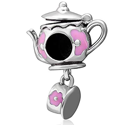 Choruslove Made Teapot and Tea Cup Set Charms fit Pandora Charm Bracelet Necklace, 925 Sterling Silver Opened Teapot Bead Pendant with Pink Enamel Flower, Gifts for Friends/Wife/Christmas