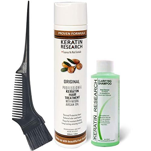 Brazilian Keratin Hair Blowout Treatment Express Formula 300ml Bottle Includes 120ml Clarifying Shampoo and Brush/Comb