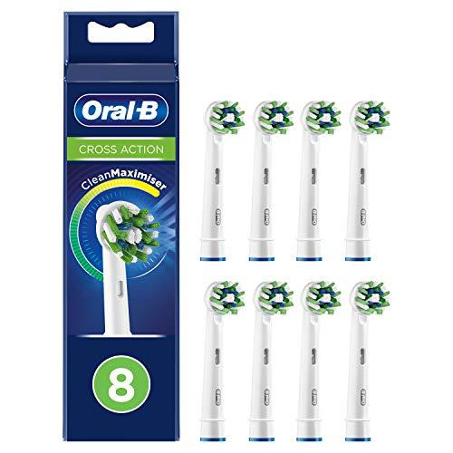 Oral-B CrossAction putsborstar med CleanMaximiser-borste för övergripande munrengöring, 8 stycken