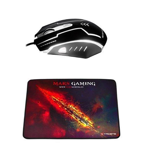 Mars Gaming MM2 - Ratón para gaming + MMP1 - Alfombrilla de ratón