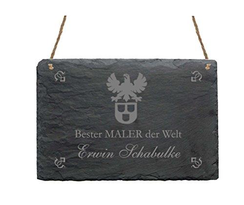 Leistenen bord « BESTER schilder der Welt » + pers. Naam – afmetingen ca. 22 x 16 cm - schild met motief schilderij behangen