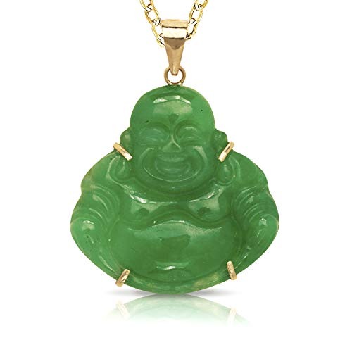 Real 14k 16-inch Natural Jade or Onyx Carved Smiling Buddha Pendant Necklace (24mm x 30mm) (Green Jade)