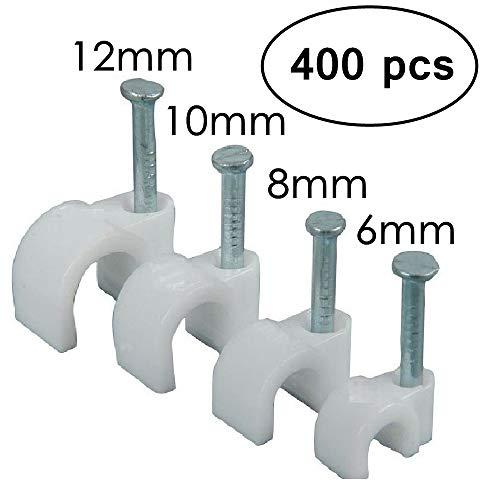 Runde Kabel Draht Clips, RG6/RG59/CAT5/CAT6/RJ45elektrischen Ethernet Gericht TV Lautsprecher Kordel Krawattenhalter, Single Koaxial Rundschellen 6mm 8mm 10mm 12mm (400Stück), weiß