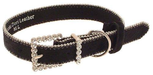 Boutique Collier de chien – noir cuir de vache Motif boucle avec cristal de frappe – Taille M/L