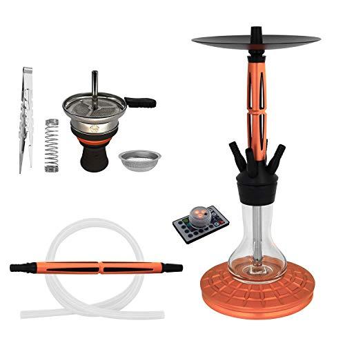 Skynet® Pro Shisha Set + viel Zubehör | Steinkopf Aufsatz LED Licht Schlauch Mundstück Zange Feder Sieb | Wasserpfeife mit 4 Anschlüssen (Rosegold)