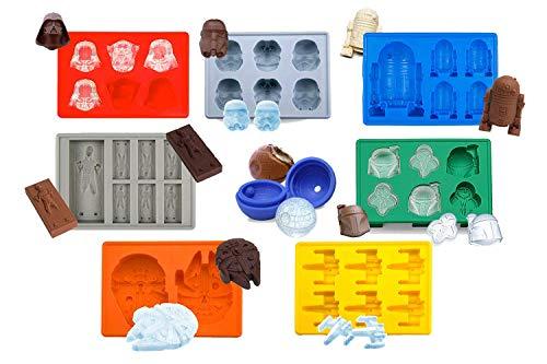Sunerly Silikon-Eiswürfelform in Star Wars Charakterformen ideal für Schokolade, Eiswürfelform, Gelee, Süßigkeiten, Desserts, Backseife und Kerzen (8-er Set)