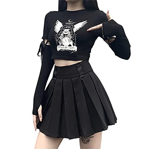 Charmlinda Sudadera con capucha para mujer, estilo gótico, punk, con estampado de calavera, manga larga, vendaje, parte superior, fiesta de Halloween, Negro-2, S