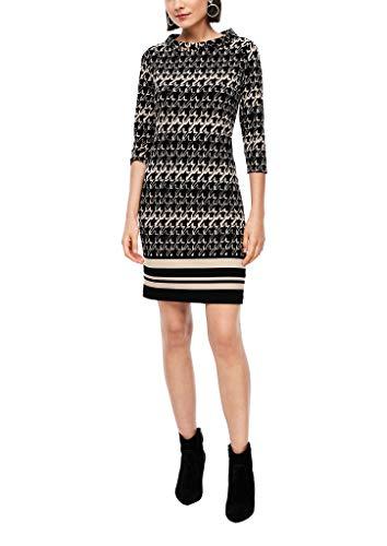 s.Oliver BLACK LABEL Damen Gemustertes Jerseykleid mit High Neck Cream Houndstooth 38