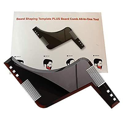 Beard Shaping Tool Template. Beard Shaper Tool for line up & Edging, Men's Facial Hair Hairline Perfect Symmetric Lines and Trim with Beard Trimmer Hair Clipper or Razor.(Brown) from Guang-T