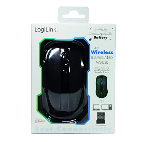 LogiLink ID0171 2,4 GHz kabellose optische Funkmaus, beleuchtet Schwarz