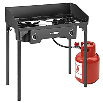 VIVOHOME Double Burner Stove Heavy Duty Outdoor Dual Propane with Windscreen and Detachable Legs Stand for Camping Cookout Max 150,000 total BTU/hr