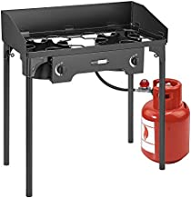 VIVOHOME Double Burner Stove, Heavy Duty Outdoor Dual Propane with Windscreen and Detachable Legs Stand for Camping Cookout, Max. 150,000 total BTU/hr