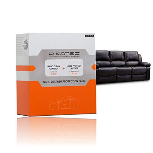 PIKATEC Nano Lederpflege   Lederreiniger und Lederschutz Set (Reiniger 50ml, Schutz 50ml)   Ledercouch Polsterreiniger und Politur + Schwamm
