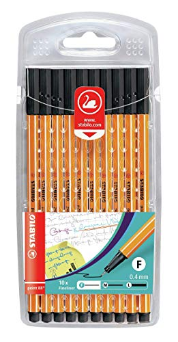 STABILO Point 88 Fineliner, Black, Wallet of 10