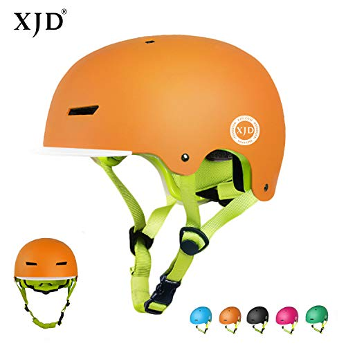 XJD ヘルメット こども用 【更新版】 キッズ ヘルメット 子供 幼児 ハードシェル 軽量 通気性 スポーツ 自転車 サイクリング 通学 スキー スケートボード 保護用ヘルメット (オレンジ, S(50cm~54cm))