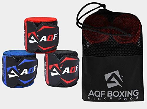 AQF Vendas Boxeo para con Vendas Elásticas de 4.5-Metros para Deportes de Combate, MMA, Kick Boxing y Muay Thai (Paquete de 3 Pares)