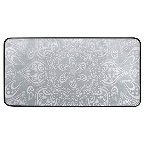 MALPLENA Carpet Silver Color Mandala Area Rug Non-Slip Floor Mat Doormats for Patio or Family Room 39 x 20 in
