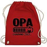 Shirtracer Opa Geschenke - Opa loading 2021 mit Babyflasche - schwarz - Unisize - Rot - Familie - WM110 - Turnbeutel und Stoffbeutel aus Baumwolle