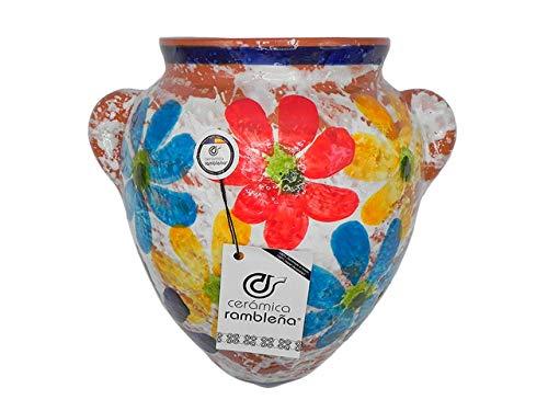 Ceramica rambilena | Vaso da appendere con orza | Vaso di terracotta da appendere | Vaso da parete | Cordoba Decorato Primavera | 100% Decorato a mano | 25 x 26 x 18 cm