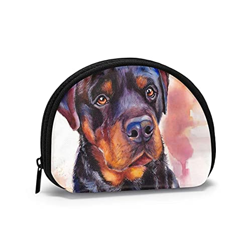 Lindo Rottweiler perro encanto arte niño impreso cambio temático lindo Shell bolsa de almacenamiento chica carteras Bule monederos clave bolsa Gifys mujer novedad