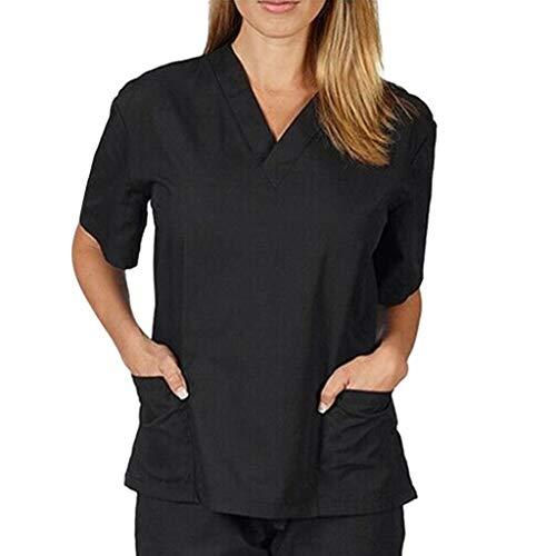 Zilosconcy Arbeitskleidung Kurzarm T-Shirts V-Ausschnitt Tops Pflege Medizin Arzt Uniform Berufsbekleidung Krankenschwester Kleidung mit Tasche Damen Uniformen Oberteil SchwarzL