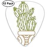 Paquete de 12 púas de guitarra Diseño de cactus de dibujos animados, para guitarras acústicas eléctricas de bajo único de guitarra, diferentes finas
