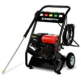 EBERTH 6.5 HP Petrol High Pressure Washer (210 bar, 4 Quick Fit Nozzels, 5 m High Pressure Hose, Heavy Duty Lance, 196 cc 4-Stroke Engine, Low Oil Protection, Recoil Start)