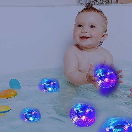 JSSEVN Badespielzeug mit LED, Schwimmendes Badewannentierchen Bad Spielzeug Badewannenspielzeug für Baby Kleinkinder Kinder Vorschule in Badewanne Pool Badezimmer Schwimmbad Party