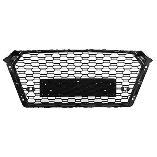 EBDH Hood Grill, Gloss Black Fit for Audi A4 / S4 B9 2017 2018 2019 No Logo Car Styling For RS4 Style Car Front Sport Hex Mesh Honeycomb
