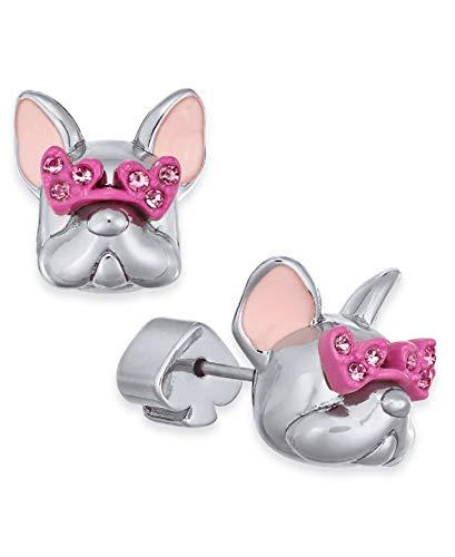 Kate Spade New York Pave Heart-Glasses Bulldog Stud Earrings Silver Multi