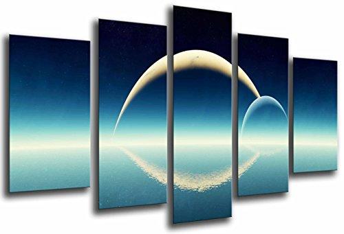 Poster Fotográfico Astronomia, Cielo Azul, Planetas en Horizonte, Eclipse Tamaño total: 165 x 62 cm XXL