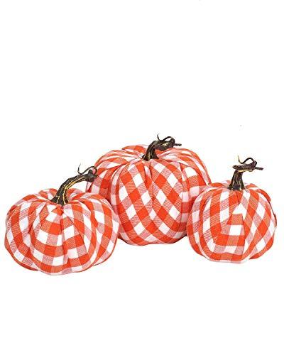 Buffalo Plaid Fabric Artificial Pumpkins Assorted Size - 3PCS Orange and White Large Pumpkins for Fall Decor, Buffalo Check Pumpkins Perfect for Halloween Thanksgiving Decoration Fall Wedding Decor