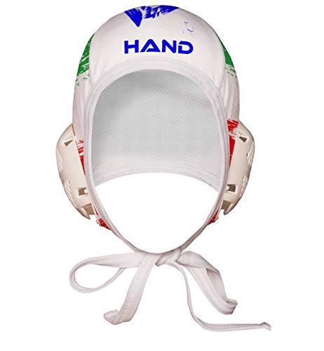 HAND SPORT Cuffia da Pallanuoto,Calottina Pallanuoto, MOD. Italia Professional, Unisex. (Bianco)