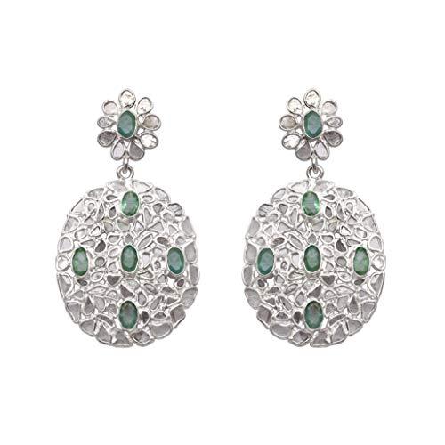 5 cts Arete floral artesanal con diamantes Polki y esmeralda genuina en racimo, plata de ley 925