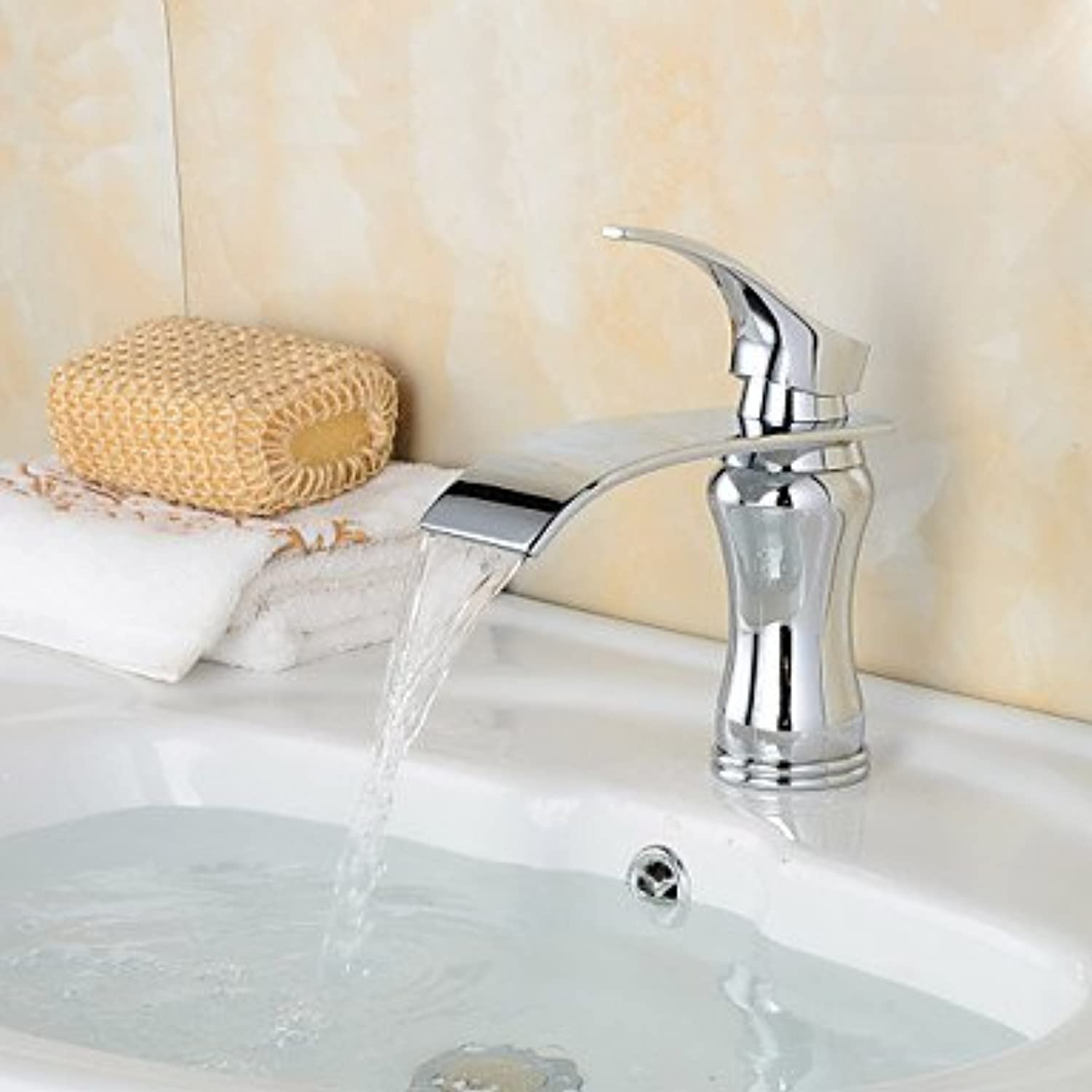 GDS Faucet£? Fashion Waterfall Brass Chrome Bathroom Sink Faucet - Silver