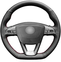 HCDSWSN Cubierta del Volante de Cuero Artificial Negro para Seat Leon Cupra R 2013-2019 Leon ST Cupra 2013-2019 Ateca Cupra 2016-2019