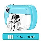 HYLX Cámara de impresión instantánea para niños, niñas Zero Ink Print Photo Selfie Video Cámara Digital con película de Papel, Regalos para cumpleaños, Vacaciones, Viajes, Azul