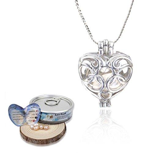 MJARTORIA Damen Mädchen Halskette Hollow Medaillon Auster Perle in Käfig Anhänger Kette Silber Farbe (Herz)