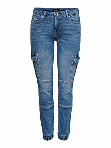 ONLY Damen Onlmissouri Life Dnm Reg Ank Car Az13 Jeans, Medium Blue Denim, M EU