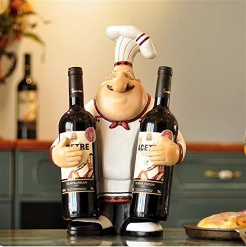 Botellero de Vino, Chef estatua de la botella de vino Soporte de resina Cook Holder Vino Barware Utensilio Vajilla Ornamento Craft Accesorios Mobiliario Decorativo (Color : MULTI)