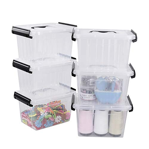 Lesbye Contenedor Plastico con Tapa, Transparente, Paquete de 6 Caja de Ordenación