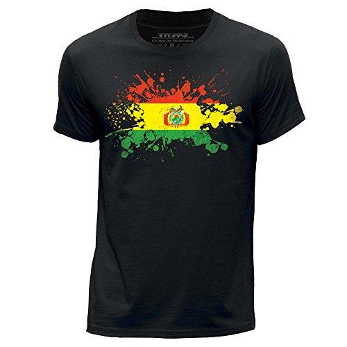 STUFF4 Uomo/Medio (M)/Nero/Girocollo T-Shirt/Bolivia Bandiera Splat