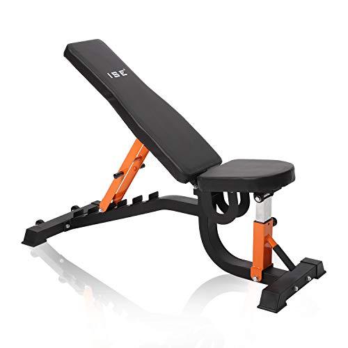 ISE Banc de Musculation Fitness pour l'entraînement Complet du Corps, Réglage 4 + 6 Positions, Multifonction Sit-up Banc inclinable Gym Domicile Bureau,Max 200 KG,SY-5504