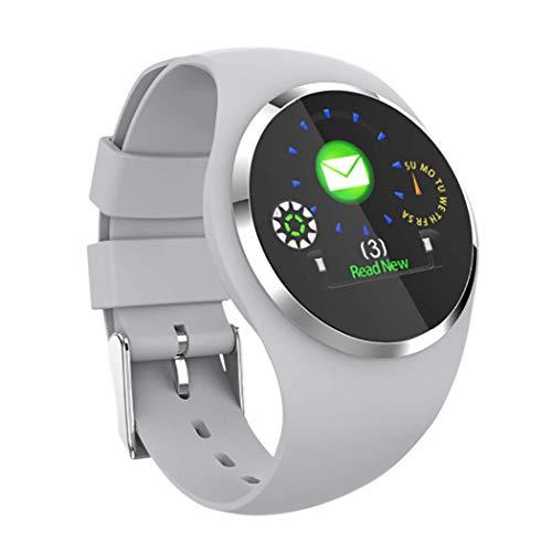 RHBKW Sportarmband voor dames, smal display, touch-smartwatch, waterdicht, calorieverbruik, IP68 horloge met stappenteller voor Android iOS A voeten afneembare armband, Grijs